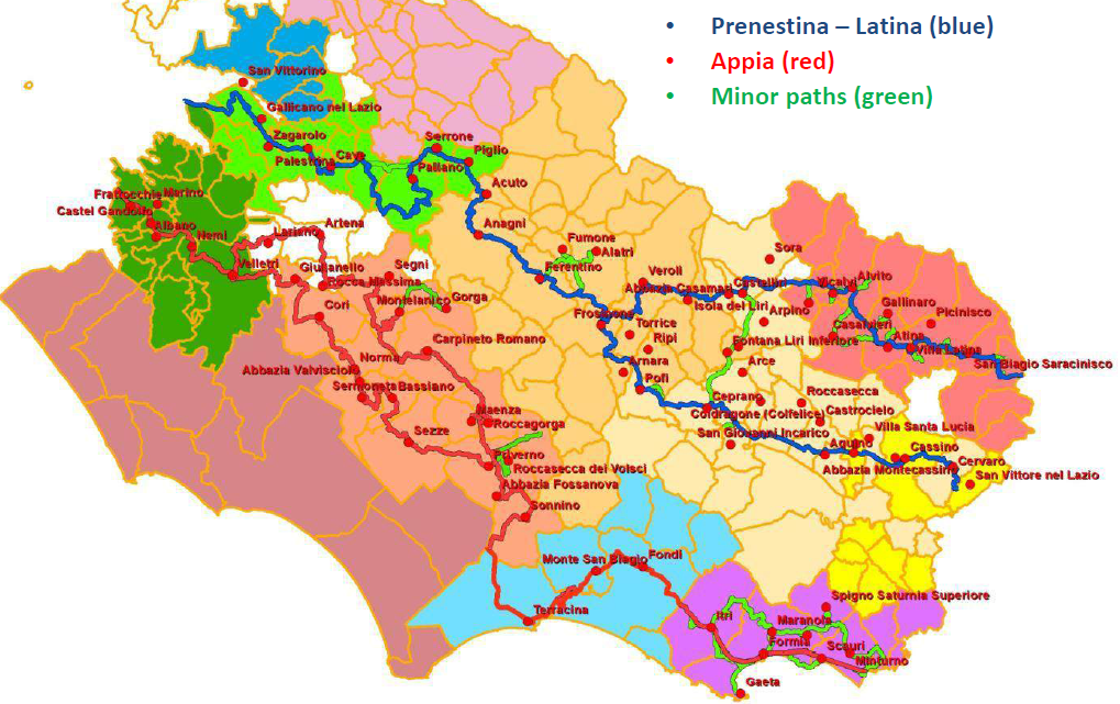 Southern Francigena beam of routes in detail. Source: BIC Lazio.
